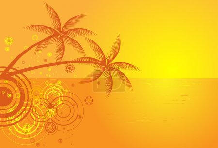 Illustration for Summer vector background with tropical beach - Royalty Free Image