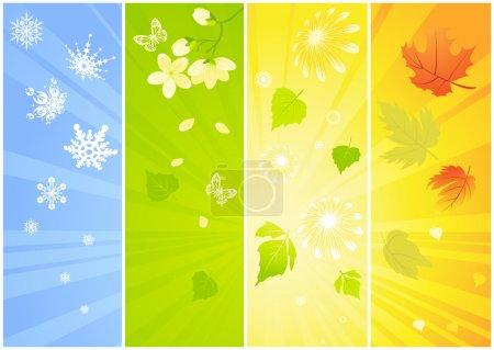 Four seasonal backgrounds