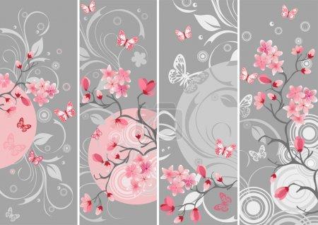 Illustration for Cherry blossom set, Samples of Japanese cherry - Royalty Free Image