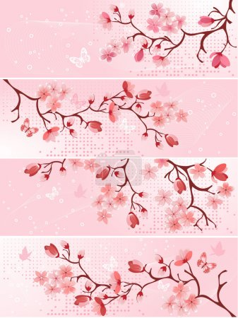 Illustration for Cherry blossom, banner. Vector illustration - Royalty Free Image