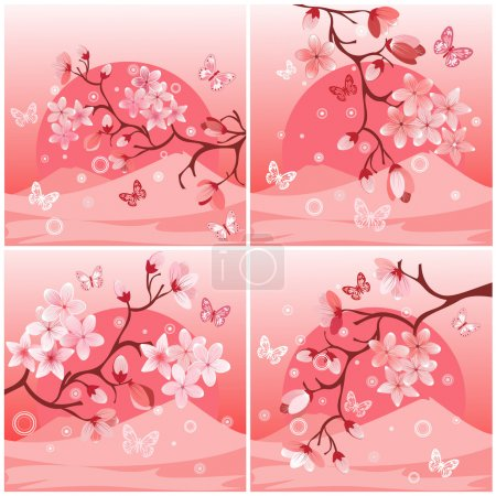 Illustration for Japanese cherry tree to the background of the mountain - Royalty Free Image