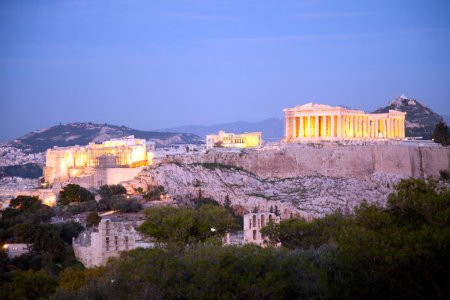 Acropolis athens greece at night
