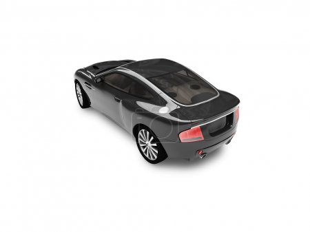 Isolated black car back view 03