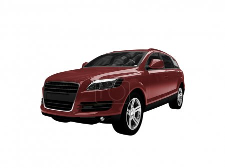 Isolated red car front view 02