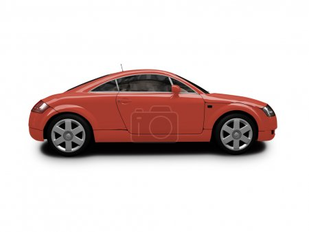 Isolated red car side view
