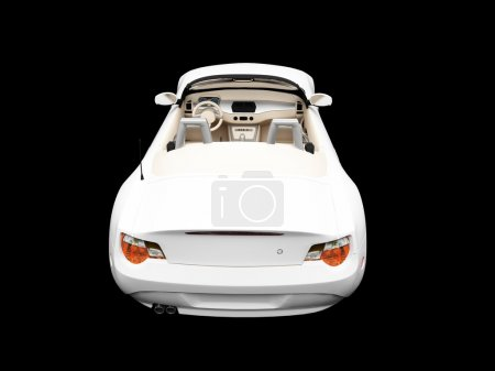 Isolated white car back view 02