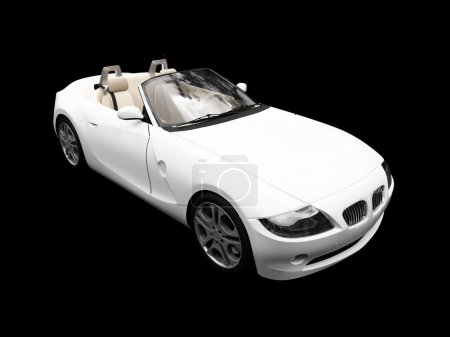 Isolated white car front view 03