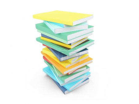 Colored books over white