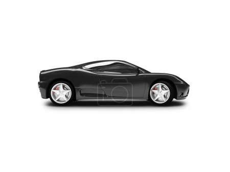 Isolated black super car side view