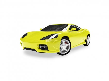 Isolated yellow super car front view