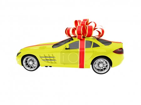 Gift isolated yellow car side view