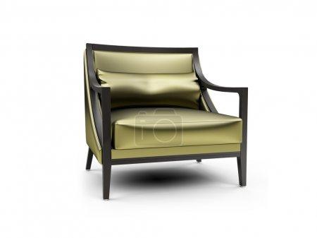 Gold armchair against white