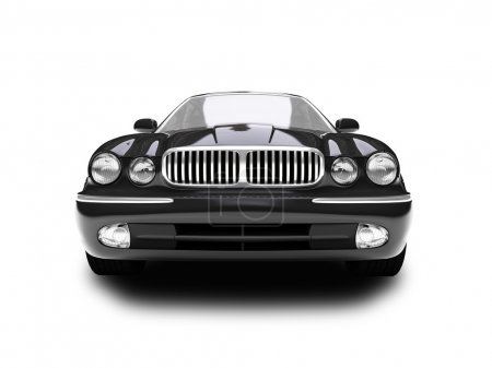 Isolated blue car front view 01