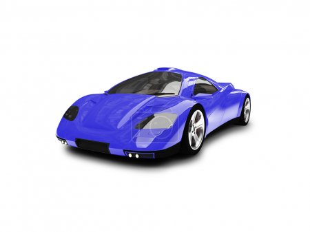 Isolated blue super car front view
