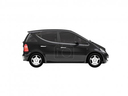 Isolated black car side view 01