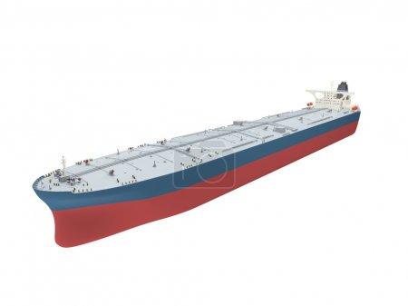 Oil tanker isolated over white