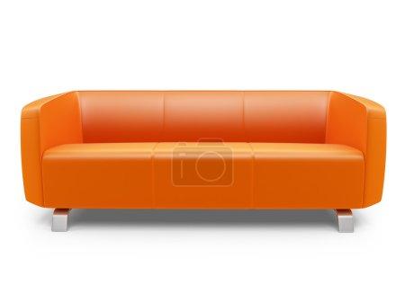 Orange couch over white