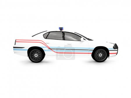 Isolated police white car side view