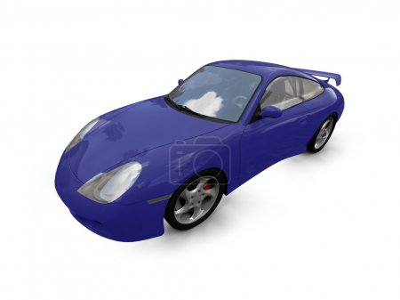 Isolated blue super car front view 03