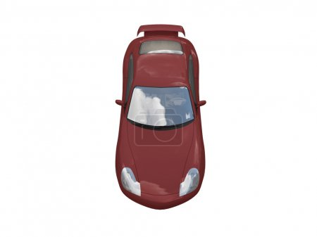 Isolated red super car top view