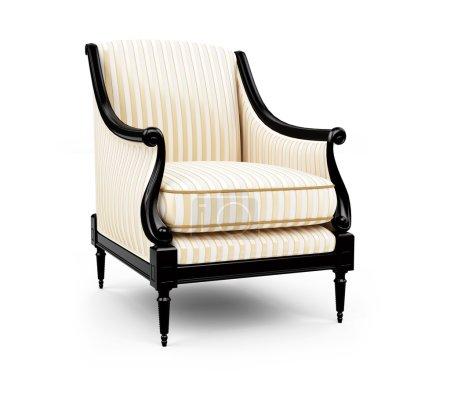 Photo pour Isolé fauteuil rayé sur fond blanc - image libre de droit