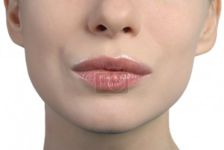 Photo for Close up shot of a woman's lips kissing - Royalty Free Image