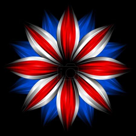 Photo pour Fleur avec des couleurs de drapeau britannique sur fond noir - image libre de droit