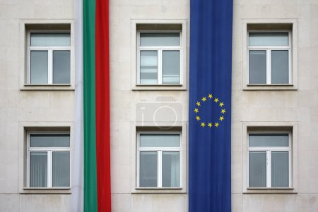 Photo for The European Union and Bulgaria flags on wall - Royalty Free Image