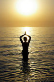 Beatiful woman meditating