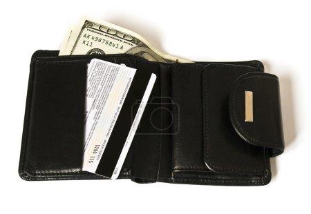 Photo pour Billfold noir avec des dollars isolés sur blanc - image libre de droit