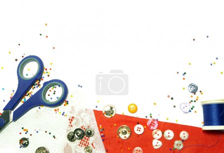 Buttons and colorful beads background