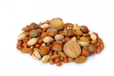 Photo for Heap of nuts isolated on white background - Royalty Free Image
