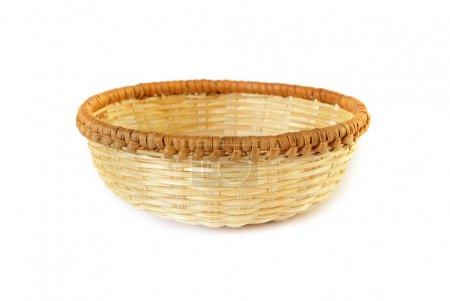 Woven basket on white