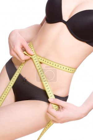 Photo for Beautiful woman in lingerie measuring her waist - Royalty Free Image