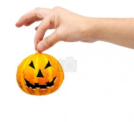 Foto de Calabaza de Halloween aislado sobre un fondo blanco - Imagen libre de derechos