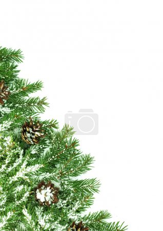 Photo for Christmas framework with snow isolated on white background - Royalty Free Image