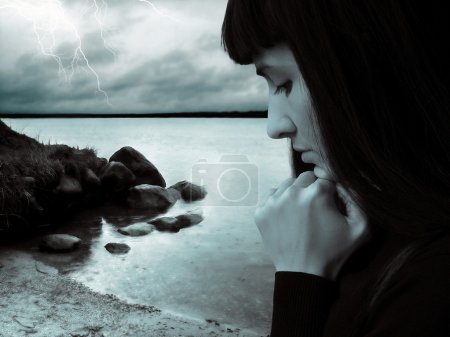 Rain storm and sad girl