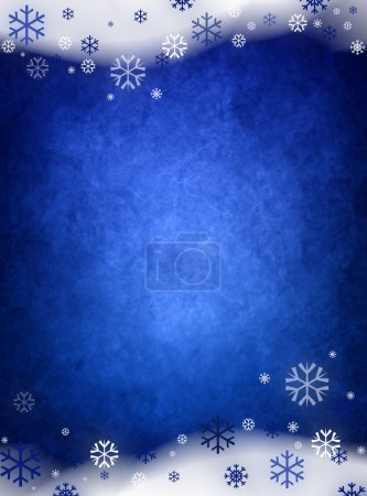 Foto de Fondo azul hielo Navidad con nieve y copos de nieve - Imagen libre de derechos