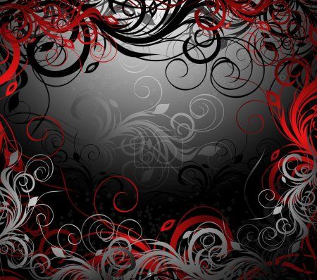 Illustration for Vector black, red and gold floral background with pattern - Royalty Free Image