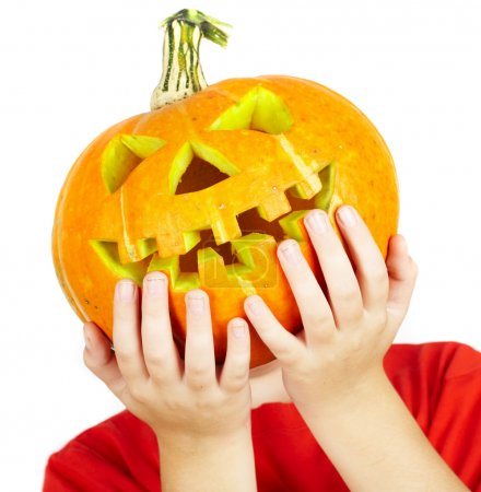 Photo for Boy with jack-o-lantern. halloween... - Royalty Free Image