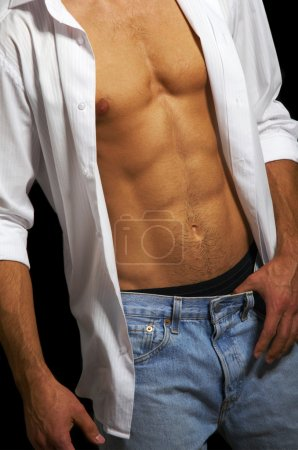 Photo for Muscular male torso on a black background - Royalty Free Image