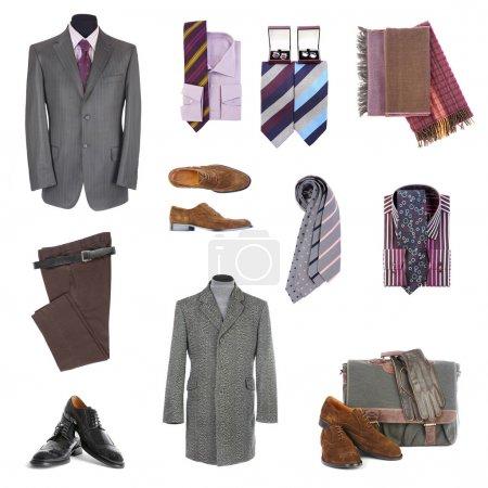 Photo pour Vêtements et accessoires pour hommes sur fond blanc - image libre de droit