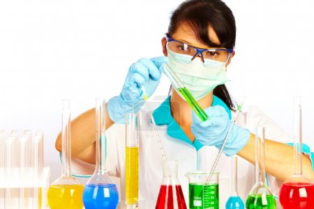 Photo for Young scientist in laboratory with test tubes - Royalty Free Image