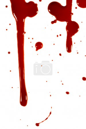 Blood drops on a white background...