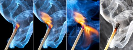 Photo of a burning match in a smoke on a