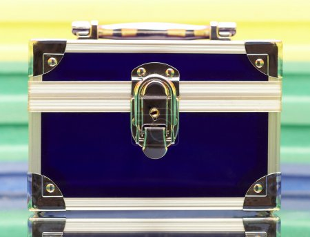 Dark blue steel small suitcase with the
