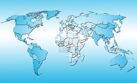 Photo pour Carte du monde avec tous les pays. fond bleu - image libre de droit