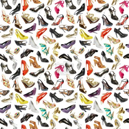 Photo for Seamless background from shoes on the white - Royalty Free Image