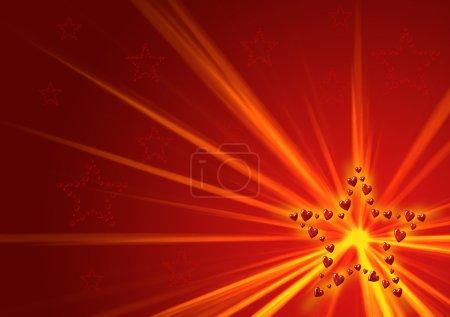 Photo pour Glowing star fait des coeurs - image libre de droit