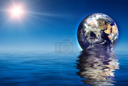 Photo for Earth like planet rise over ocean - Royalty Free Image